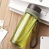 Mosako - Botella de deporte de plástico para estudiantes, botella de agua, botella de deporte, unisex, para escuelas de gimnasia interiores (verde, 400 ml)