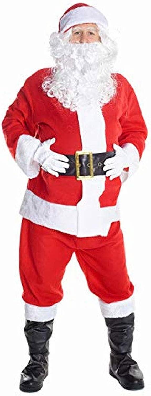 HUIHUI Men's Santa Claus Costume Father Christmas Suitable For Men's Holiday Clothing 8 Piece Set