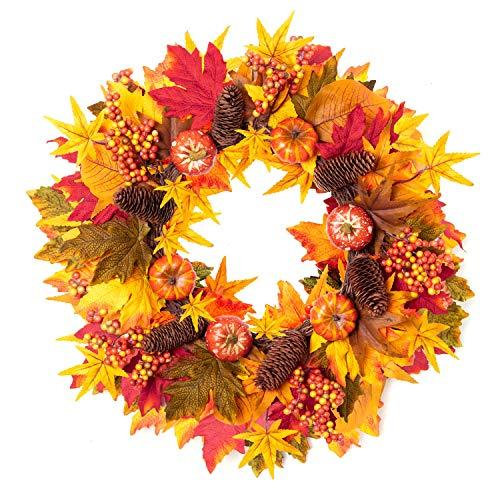 Fall Wreath, 20 inch Autumn Wreath for Front Door