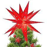 Qijieda 3D Puntale Albero Natale Luminoso - 18 inch Batteria da Esterno a LED con Luce a Stella di Natale con Timer, Puntale Albero di Natale Usato per Decorare Alberi di Natale,Balconi(Red)