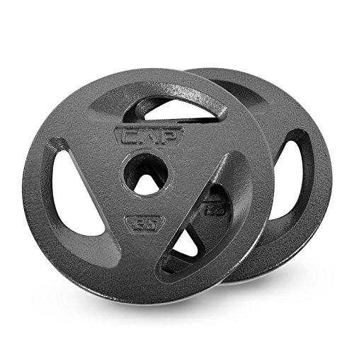 CAP Barbell Olympic Grip Weight Plates 50 Lbs Set, 25 Lbs Each, Olympic Plate Sets, Olympic Plate Weights (Bundle 1)