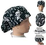 OP-Hauben Skelette für langes Haar, Chirurgie, Zahnarzt, Tierarzt, Küche usw. Handtuch vorne, mit Spanner nach Geschmack verstellbar, passt sich allen Haaren an
