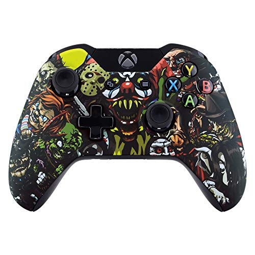 eXtremeRate Hülle für Xbox One Controller,Case Gehäuse Ersatzteile Zubehör Faceplate für Xbox One Standard Controller mit Oder Ohne 3,5mm Anschluss(Schrecken)