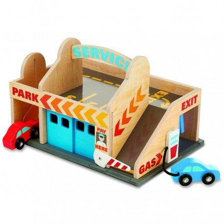Melissa and doug - Garage voiture Jouet en bois Enfant Station service, 2 véhicules, lavage auto, Ascenseur, Parking