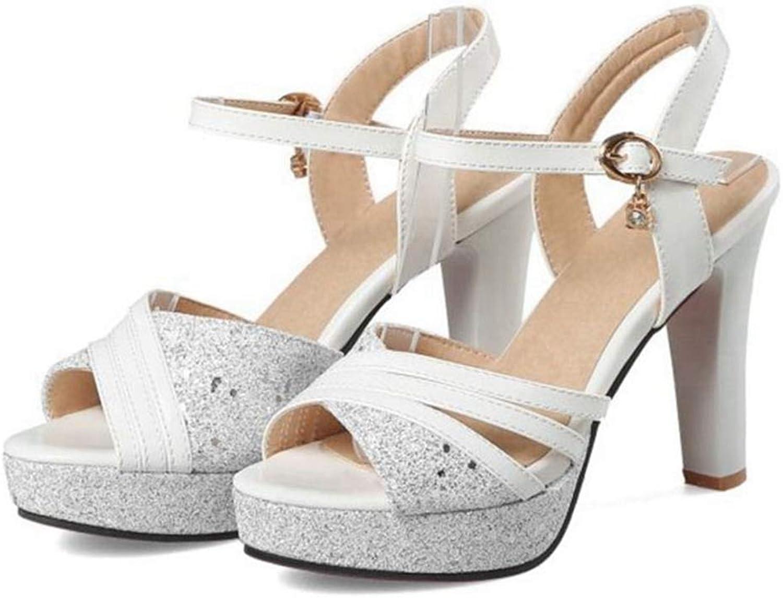 Ladies Sandal Thick High Heel Platform Crystal Buckle Women Summer Fashion Footwear Sandals