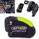 Artago 30X5 Pack Candado Antirrobo Disco con Alarma 120db Alta Seguridad + Soporte para Ducati Monster Diavel, Homologado Sra y Sold Secure Gold, Negro/Amarillo