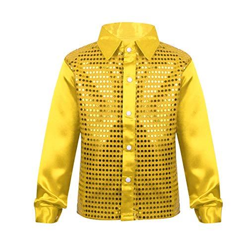 TiaoBug Jungen Hemd Kinder Langarmshirt festlich Shirt Oberteile Pailletten Kostüm Jazz Tanz Stage Performance Party Tops glänzend für feierliche Anlässe Gold 104-110