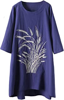 Mordenmiss Women's Cotton Linen Dresses New Printed Long Tunic Tops