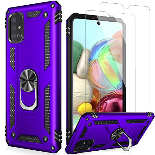 LUMARKE Galaxy A51 Case,Pass 16ft. Drop Tested Military Grade Cover with Magnetic Ring Kickstand Compatible with Car Mount Holder,Protective Phone Case for Samsung Galaxy A51 4G LTE Purple