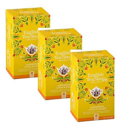 English Tea Shop Infuso Biologico di Citronella, Zenzero ed Agrumi Naturalmente Senza Caffeina - 3 x 20 Bustine di Tè (90 Gram)