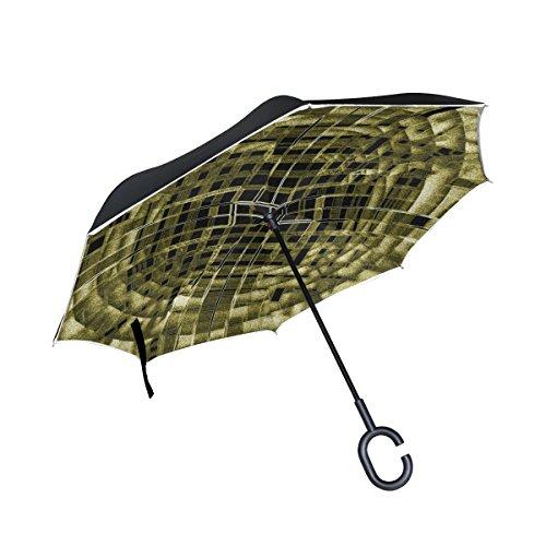 ISAOA grande ombrello invertito ombrello antivento doppio strato Reversed ombrello pieghevole per auto pioggia esterni, manico c-shaped self-standing texture Techno ombrello