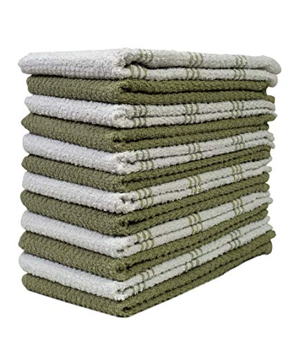 HomeLabels Kitchen Towels (12 Pack, 15 x 25 Inch) Cotton - Machine Washable - Extra Soft Set of 12 Sage and White Dobby Weave Dish, Pop Corn Tea Towels, Bar Towels, Green Fingertip Towel