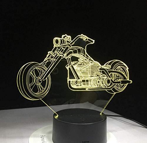 3D design motorfiets nachtlampje Home Decoration 7 kleurwisselende sfeerlamp met USB-lader LED nieuwigheid