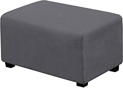 Velvet Ottoman Slipcover, Rectangle Footstools Covers, Stretch Foot Stool Cover, Soft Rectangle Furniture Protector for Living Room and Bedroom (Large,Gray)