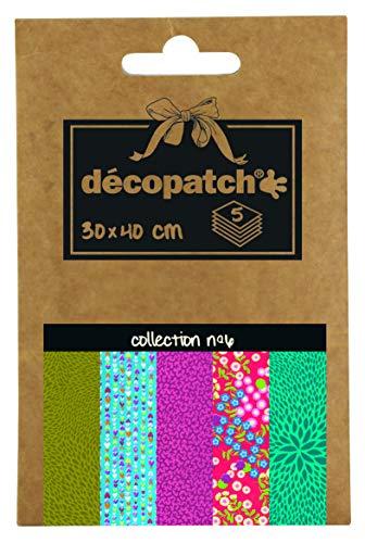 Décopatch DP006O - Une pochette de 5 feuilles de papier imprimé 30x40 cm, motif assortis (Réfs...
