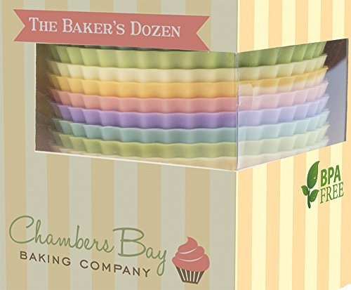 Silicone Baking Cups / 13 Reusable Nonstick Cupcake Liners/Premium Muffin Molds - Stand Alone Cupcake Holders - No BPA - Gift Set - 6 Designer Colors - Standard Size