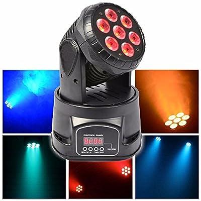 U'King 7x 15W RGBW LEDs Moving Head Stage Light DMX512 Sound Active for ClubDJ TV Theatre Disco Home Party Ballroom etc (Balck)
