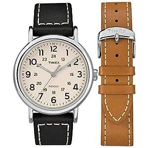 Timex – Reloj analógico de Cuarzo Unisex con Correa de Piel