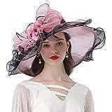 HSDCK Accessoires Organza Hat Femmes Chapeaux Rose décoration Florale Large Brim Occasion Événement Kentucky Derby Eglise Robe Chapeau de Soleil,Rose