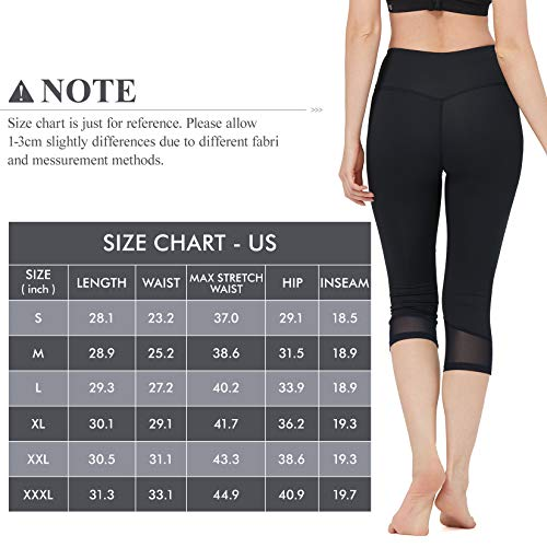 Women's High Waist Leggings Stretchy Capris Yoga Pants Tummy Control Slim Tights Lightweight Lift Leggings for Workout Running Cycling Exercise Black