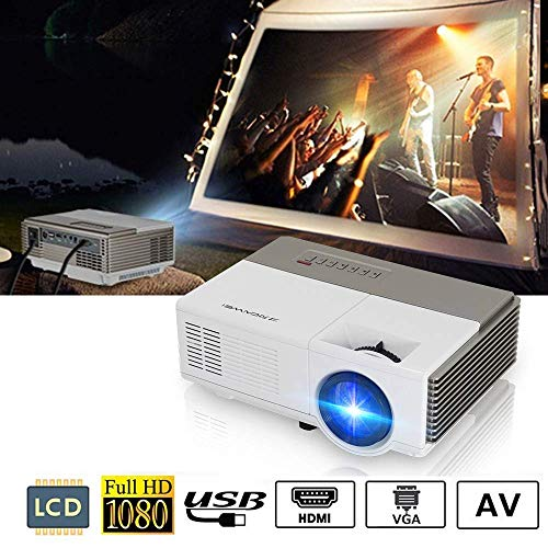 Portable Video Projector 2800 Lumens LED LCD HD 1080p Multimedia Home Theater Projector with Keystone Built in Speaker 50,000hrs Led Lamp- HDMI USB VGA TV 3.5mm for Smartphone PC DVD Player Xbox PS4
