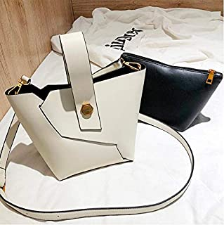 Adebie - Vintage Fashion Female Tote Bucket Bag 2019 New Quality PU Leather Women's Designer Handbag Alligator Shoulder Messenger Bag 26 X 15 X 18 cm White []