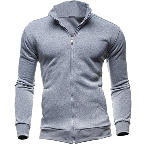 IMJONO Jacket,2019 Neujahrs Karnevalsaktion Herrenkleidung Men es Autumn Winter Leisure Sports Cardigan Zipper Sweatshirts Tops Jacket Coat(Medium,Grau)