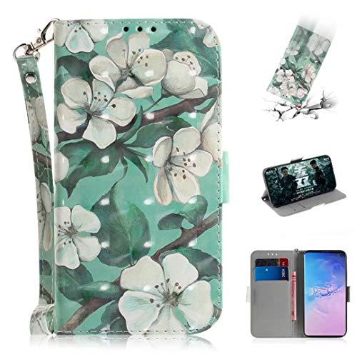 Nadoli Galaxy S10e Lederhülle,3D Bewirken Magnetverschluss Kartenfach Standfunktion Pu Leder Flip Schlanke Brieftasche Schutzhülle Handyhülle für Samsung Galaxy S10e,Grün Blumen