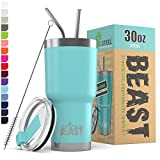 BEAST 30oz Teal Blue Tumbler - Stainless Steel Insulated Coffee Cup with Lid, 2 Straws, Brush & Gift...