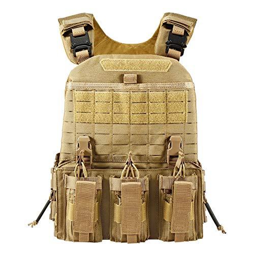 YAKEDA Quick Release Military Tactical Outdoor Vest for Men (Khaki)