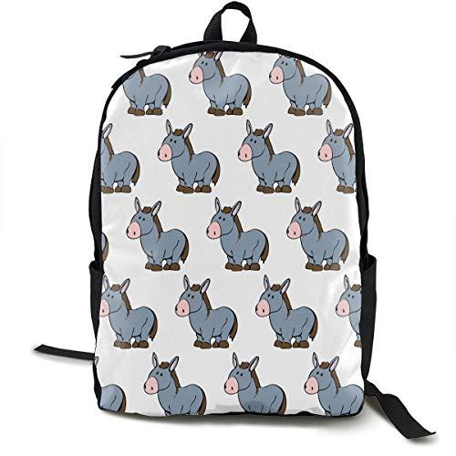 Casual Daypack Big Capacity Anti-Diebstahl Multipurpose Shoulder Bag Backpack for School Outdoors Bicycle - Cute Donkey Pattern, Reisen Hiking Daypack
