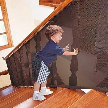 Filet d'Escalier de Sécurité pour Enfants,2pièces 3+2Mètres Filet de Sécurité pour Balcon Et Escalier, Filet de Sécurité pour Balcon/Rampe d'Escalier pour La Sécurité Des Enfants/Animaux/Jouets
