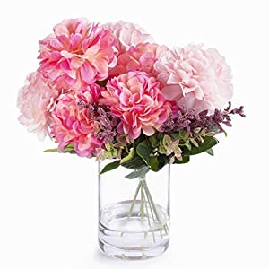 Home 7 Heads Pink Mixed Dahlia Silk Flower Arrangement in Glass Vase with Faux Water – N/a Handmade