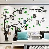 Wandtattoo Baum 3D DIY Wandaufkleber Sticker mit Bilderrahmen Foto Baum Wandsticker Wanddeko Deko für Hause Kinderzimmer Wohnzimmer Schlafzimmer(XL: 200 * 276CM,GRUN Rechts)