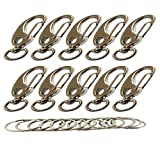 Bytiyar 10 PCS Metal 43mm Small Swivel Snap Hook Clips with 10mm Roating D Ring Egg Shape Spring Clasps Carabiners,Silver