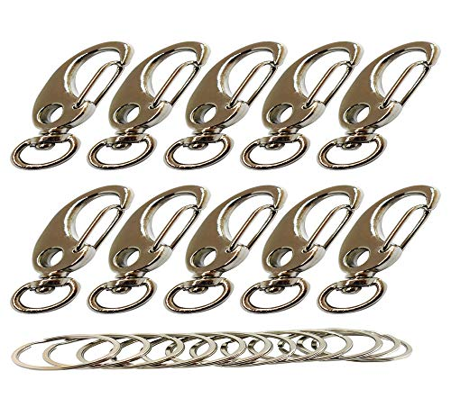 Bytiyar 10 PCS Metal 43mm Small Swivel Snap Hook Clips with 10mm Roating D Ring Egg Shape Spring Clasps Carabiners Quick Link Shackle of Pet Clips or Paracord Clips