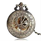 SGSG Reloj de Bolsillo Reloj de Bolsillo mecánico de Esqueleto con número Romano de temática Relojes de Cuerda Manual Cumpleaños