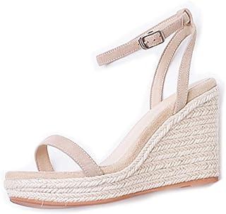 Wedge Sandals Straw Sandals Fairy Wind Word Belt Female High Heel Summer New Thick Platform Waterproof Platform Wedding Ball Leather Sandals (Color : White Heel 9.5cm, Size : 38/US7.5)