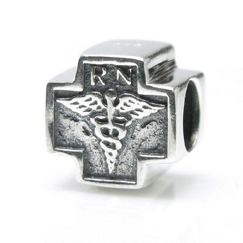 Plata de Ley 925 con el logotipo de la cruz de la enfermera RN Caduceus, símbolo médico para pulseras de abalorios europeas