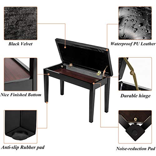 Bonnlo Wooden Double/Duet Piano Bench with Storage and Thick Cushion Faux Leather Padded Piano Stool Artist Duet Seat- Black