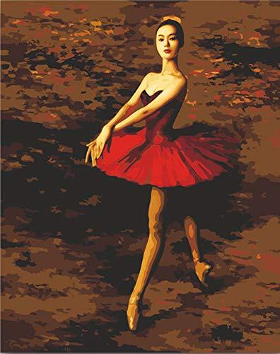 Suubboo Frameless Diy Kleurplaten Door Getallen Russische Ballerina Figuur Afbeelding Schilderen Door Getallen Schilderen In Kleuren 40X50Cm