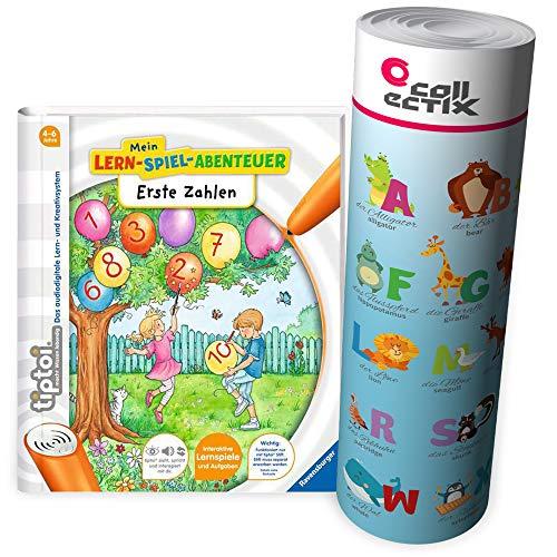 Ravensburger tiptoi ® Buch ab 4 Jahre | Erste Zahlen - Mein Lern-Spiel-Abenteuer + ABC Buchstaben Lern-Poster mit Tieren