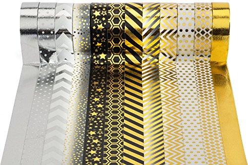 Très Chic Mailanda Washi Tape Masking Noel Fete Cadeau Tape Lot de 12 Noir/doré pour Scrapbooking DIY (par Rouleau de 15 mm x 10 m)