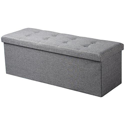 WOLTU Sitzhocker mit Stauraum Sitzbank faltbar Truhen Aufbewahrungsbox, Deckel abnehmbar, Gepolsterte Sitzfläche aus Leinen, 110x37,5x38 cm, Hellgrau, SH11hgr-1