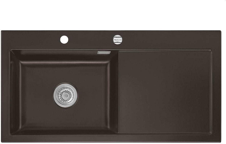 Systemceram Mera 100 SL Siena Keramik-Spüle Excenterbettigung Dunkelbraun matt