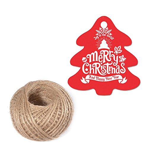 100 PCS Christmas Tree Shaped Gift Tags 5 cm 5.5 cm 'Merry Christmas and Happy New Year' Printed Paper Hang Tags with 100 Feet Natural Jute Twine (Red)