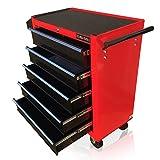 Carro de herramientas con ruedas US PRO Tools, mueble color rojo con cajones negros