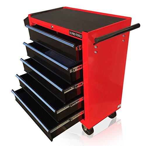 Carro de herramientas con ruedas US PRO Tools, mueble color rojo con cajones...