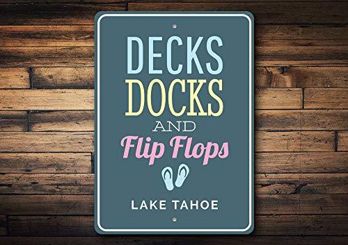 Boot Dock Sign, Lake Tahoe Boot Sign, Lake Tahoe, Flip Flop Sign, Boot Dock Decor, Boot Deck Sign, Lake Tahoe Decoratie, Kwaliteit Metaal