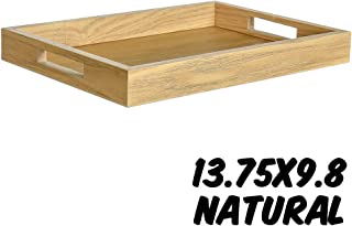Markin Arts Rustic Series Bamboo Wood Design Old Country Farmhouse Barnwood Reclaimed Primitive Kitchen Dining Table Coffee Tea Serving DIY Craft Decorative Display Tray Drawer Organizer Box Natural